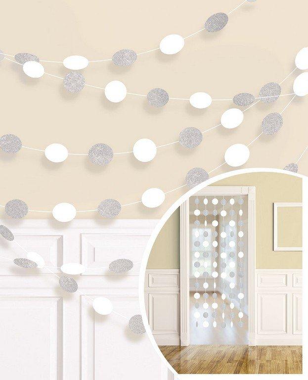 String Decorations Glitter Round  Frosty White