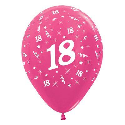 Sempertex 30cm Age 18 Metallic Fuchsia Latex Balloons, 6PK