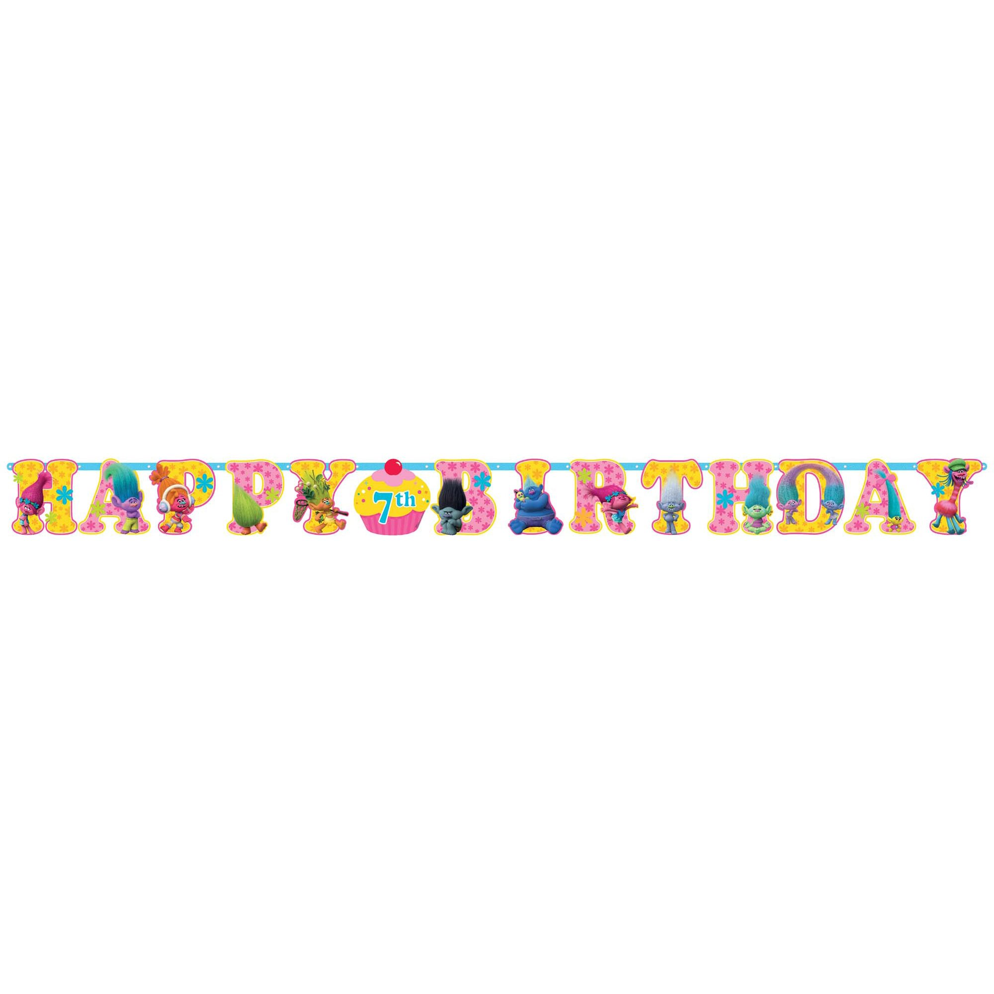 Trolls Happy Birthday Jointed Add-An-Age Cardboard Jumbo Banner