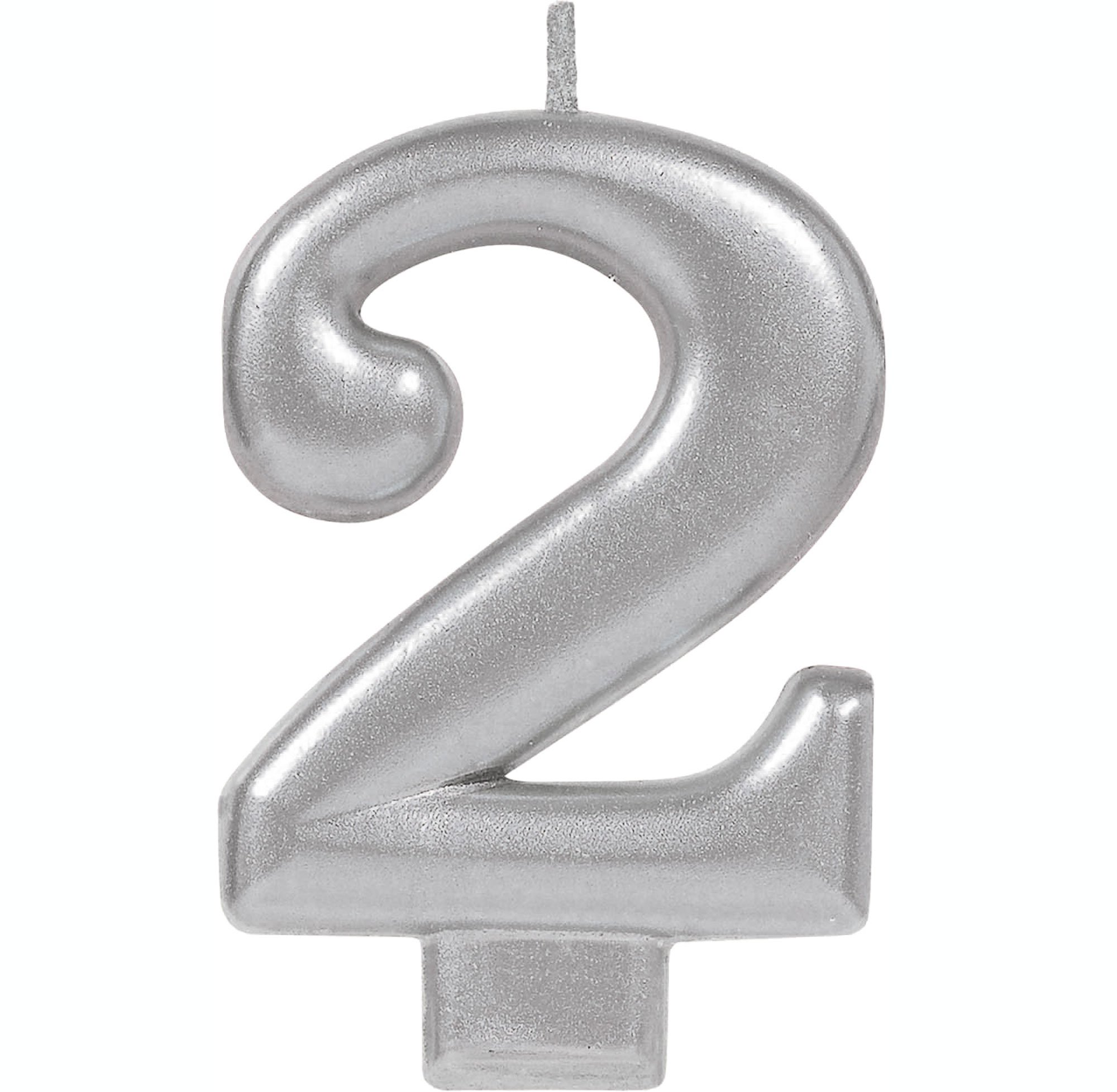 #2 Silver Metallic Numeral Moulded Candle