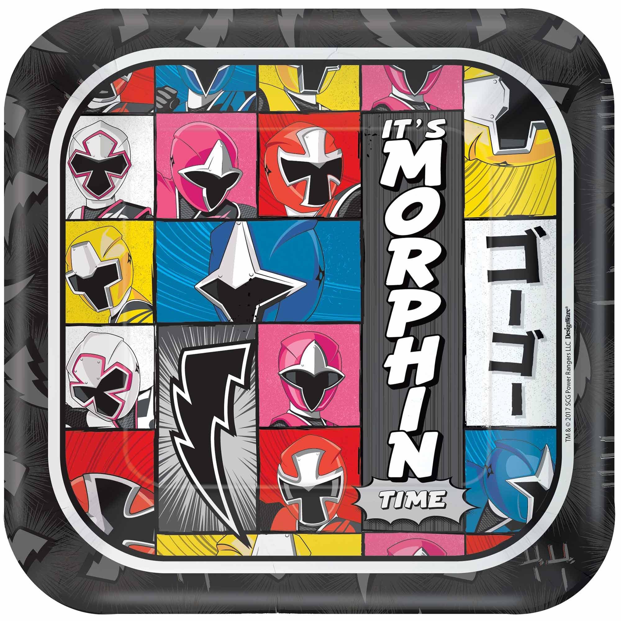 """Power Rangers Ninja Steel 7"""" / 17cm Square Paper Plates"