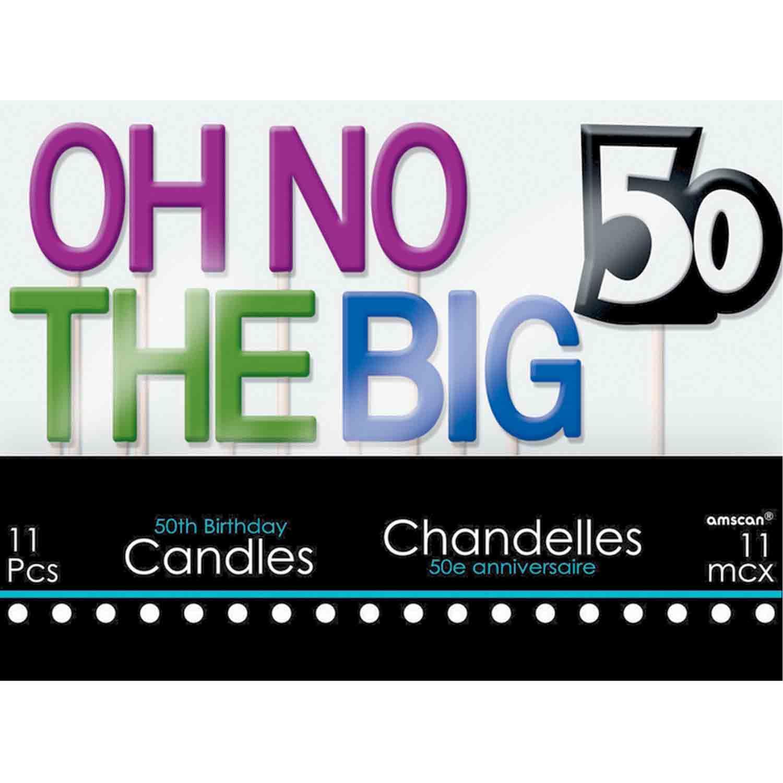 50th Birthday Celebration Candle Set