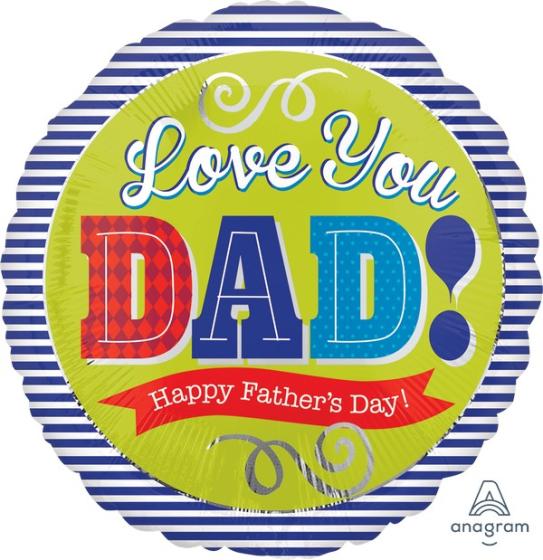 45cm Standard HX Love You Dad Happy Father's Day Blue Stripes S40
