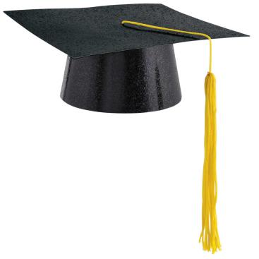 Graduation Mini Hat Glitter Black