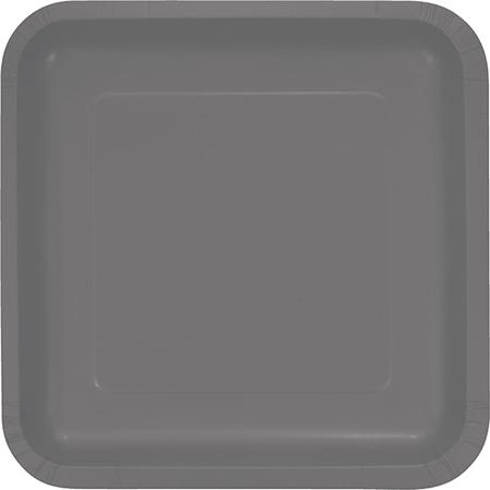 Glamour Gray Square Dinner Plates Paper 23cm