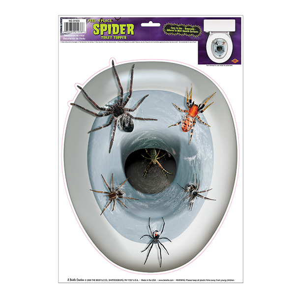 Spiders in the Toilet Seat Topper Peel & Place Cling