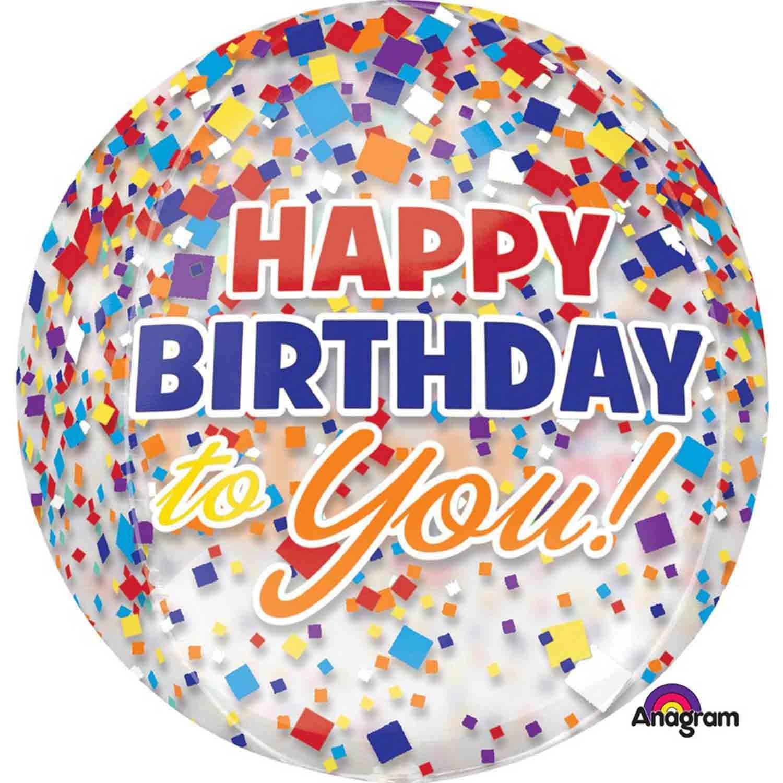 Orbz XL Happy Birthday Confetti Clear G20