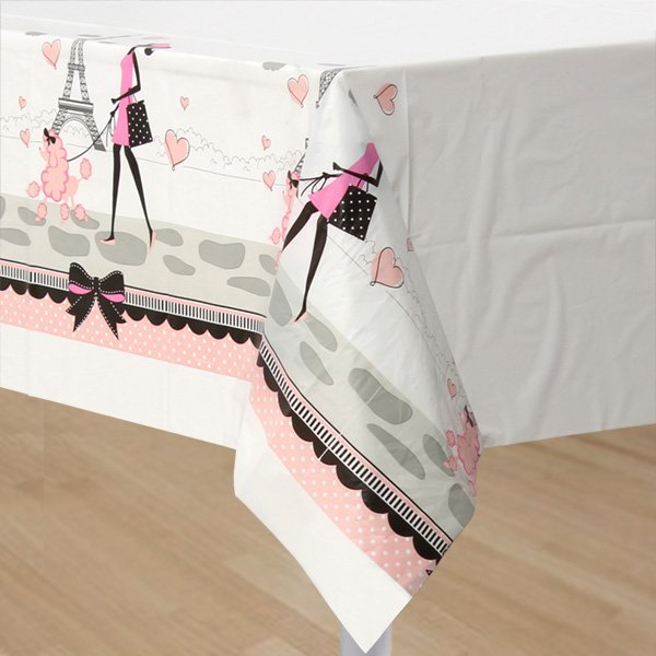 Party in Paris Tablecover Plastic Border Print 137cm x 259cm
