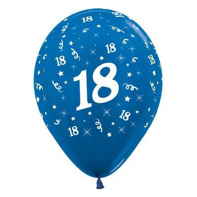 Sempertex 30cm Age 18 Metallic Blue Latex Balloons, 6PK