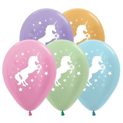 Sempertex 30cm Unicorn Sparkles & Stars Satin Pearl & Metallic Assorted Latex Balloons, 25PK