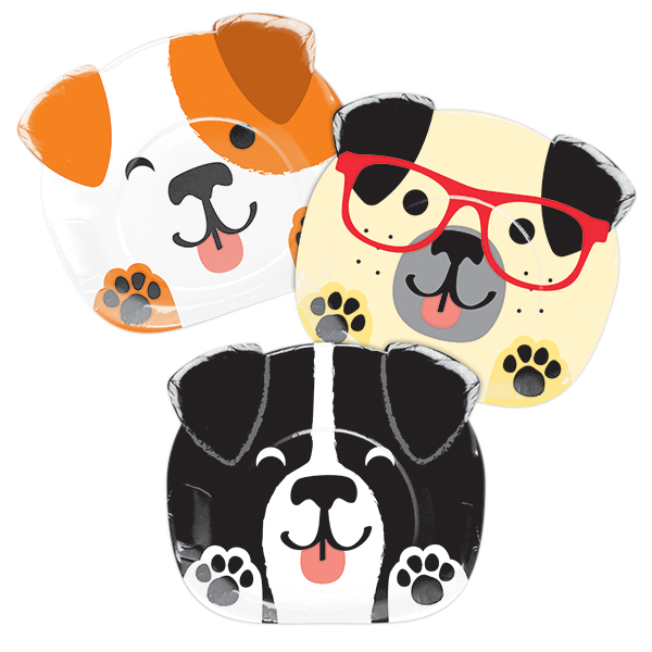 Dog Party Dinner Shaped Plates Paper 22cm Assorted Designs