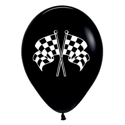 Sempertex 30cm Racing Flags Fashion  Black & White  Ink Latex Balloons, 6PK