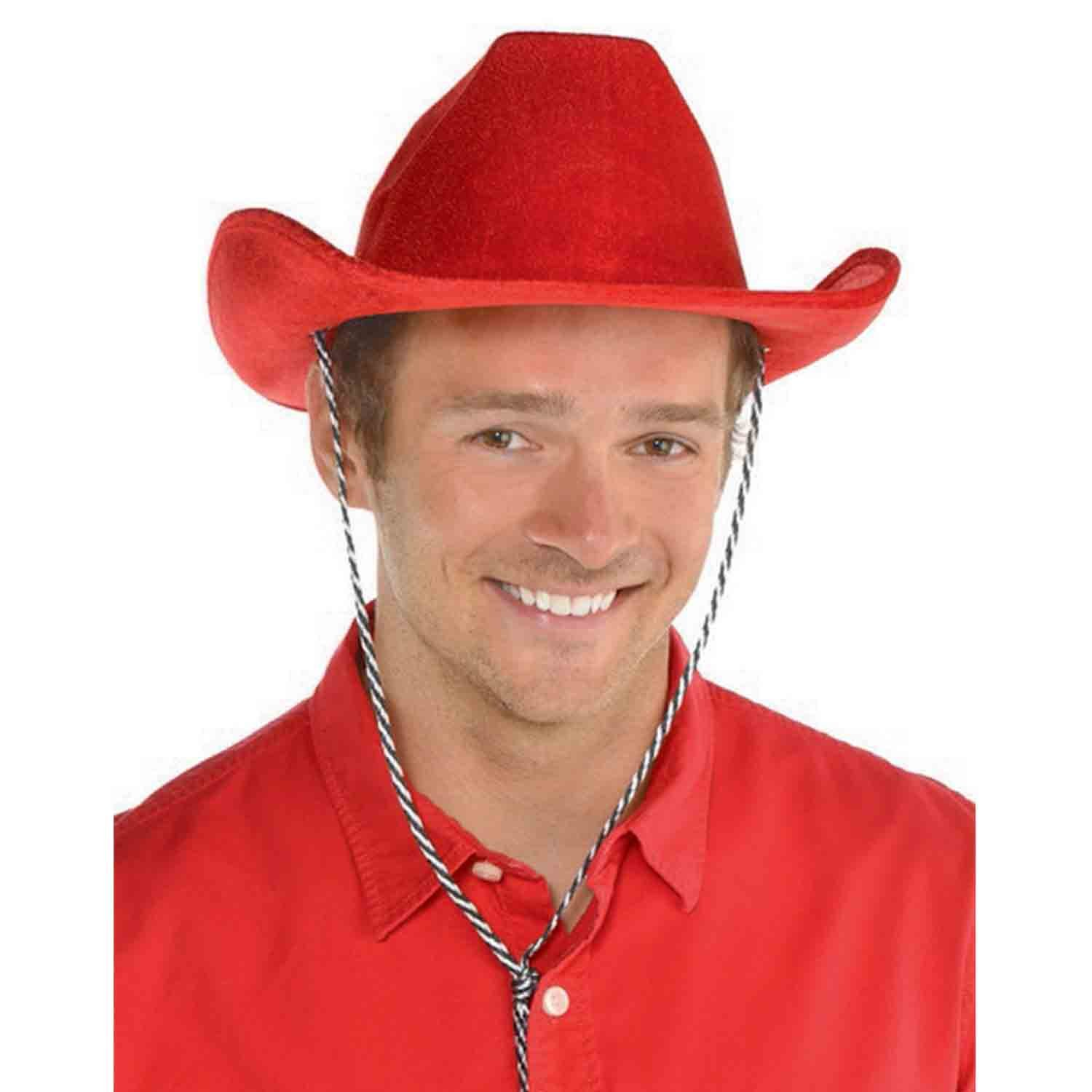 Cowboy Velour Hat - Red
