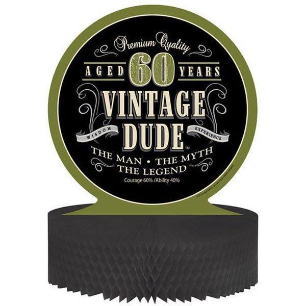 Vintage Dude 60th Birthday Centrepiece Honeycomb 30cm
