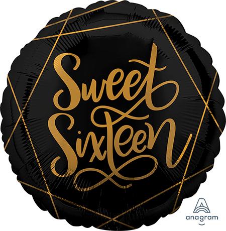 45cm Standard HX Elegant Sweet Sixteen Black & Gold S40