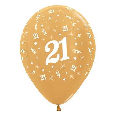 Sempertex 30cm Age 21 Metallic Gold Latex Balloons, 25PK
