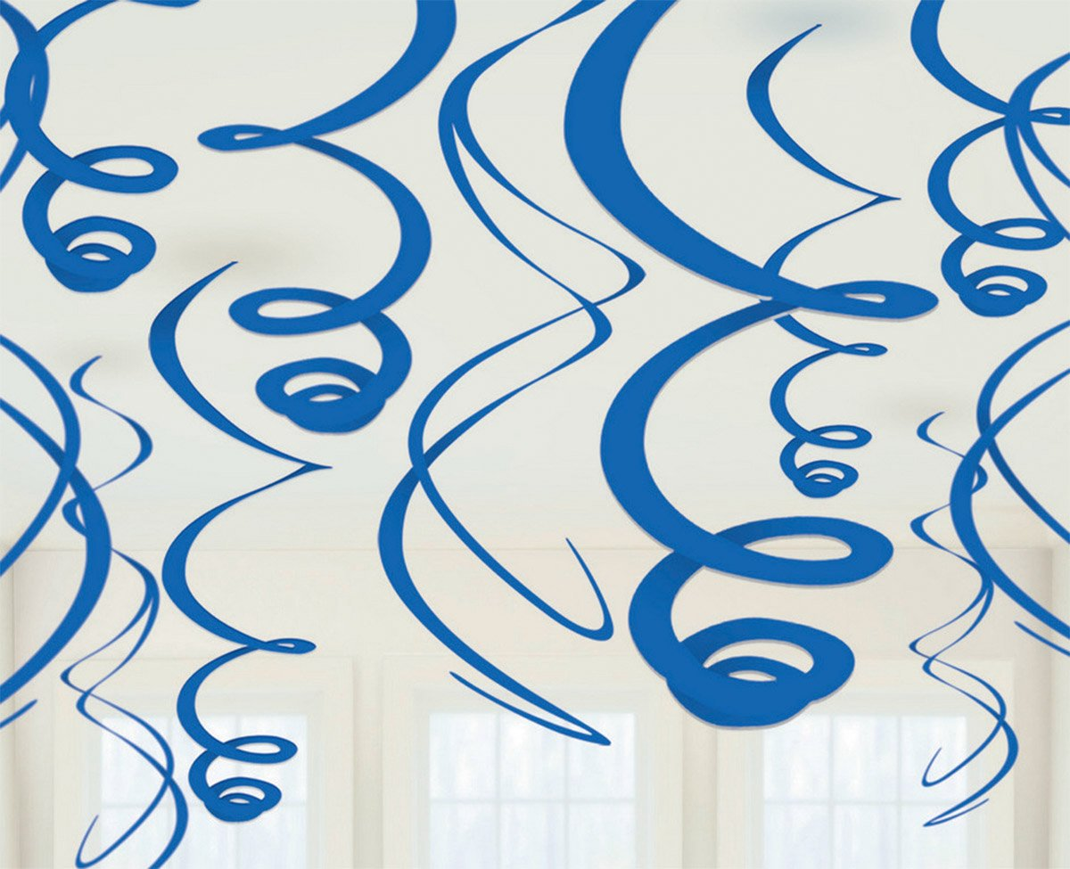 Plastic Swirl Decorations - Bright Royal Blue