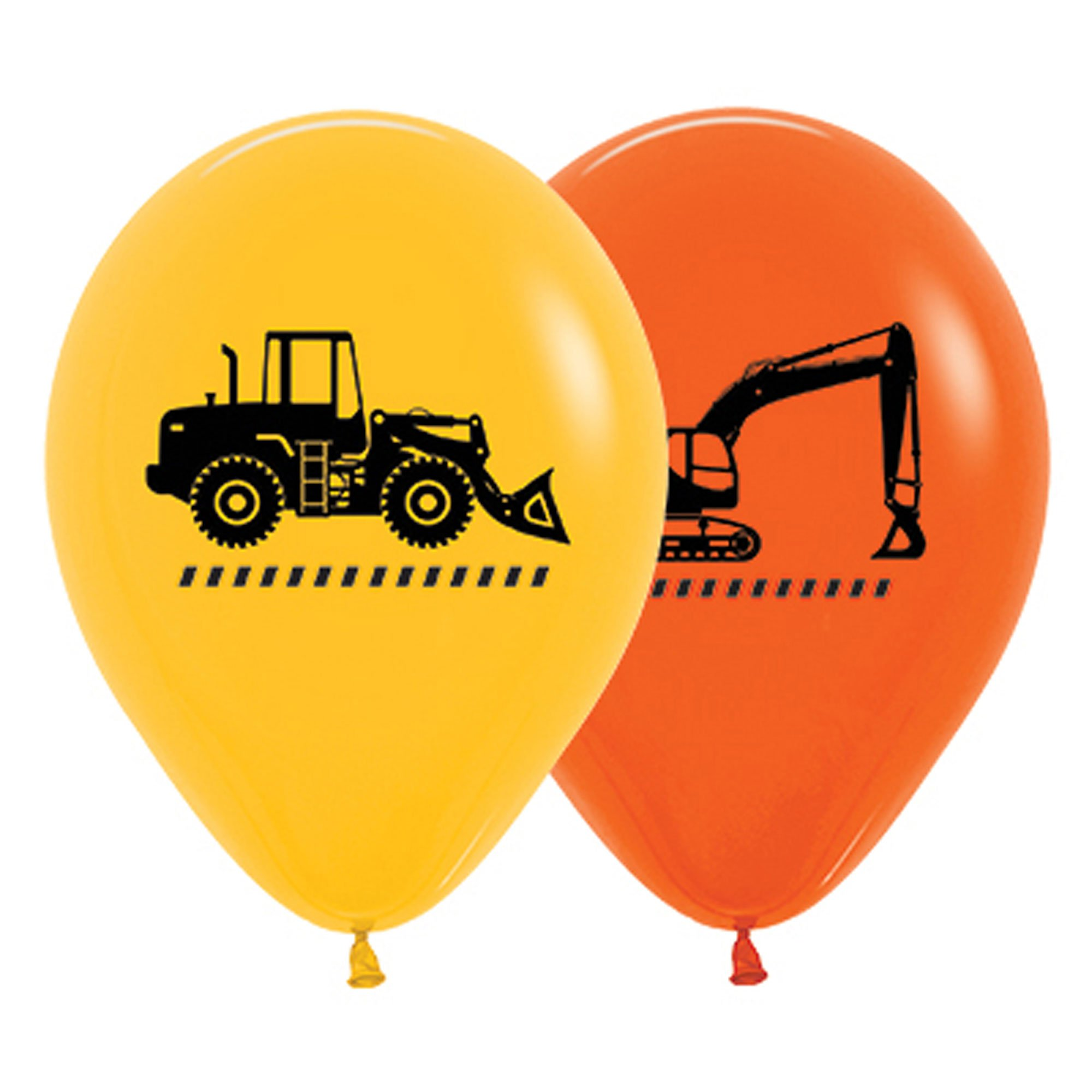 Sempertex 30cm Construction Trucks Fashion Yellow & Orange Latex Balloons, 25PK