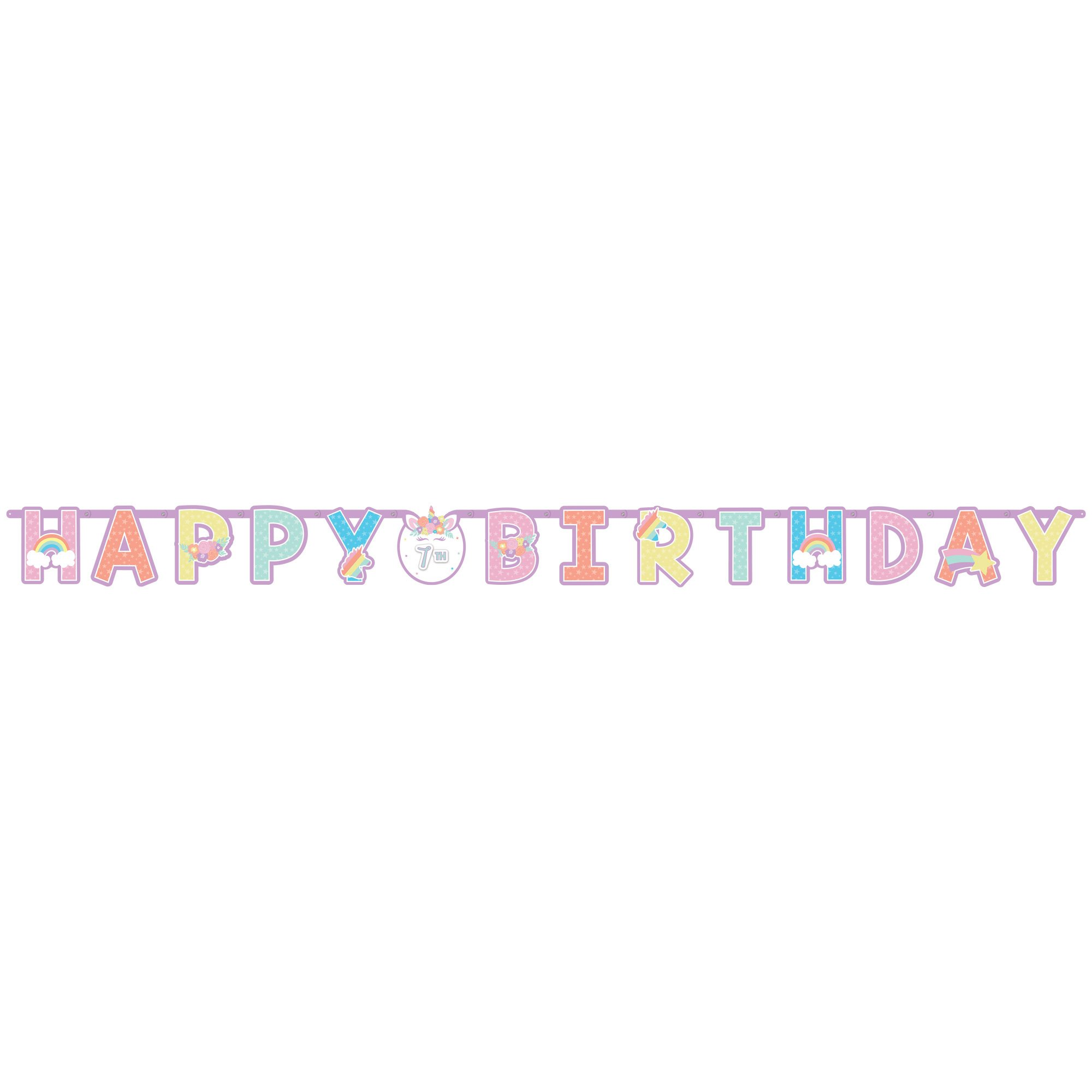 Unicorn Party Happy Birthday Add-An-Age Letter Banner