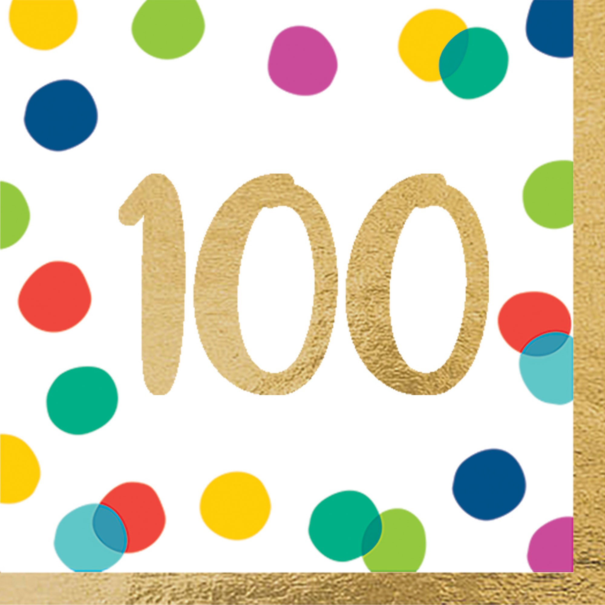 Happy Dots 100th Lunch Napkins Hot Stamped