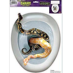 Snakes in the Toilet Seat Topper Peel & Place Cling