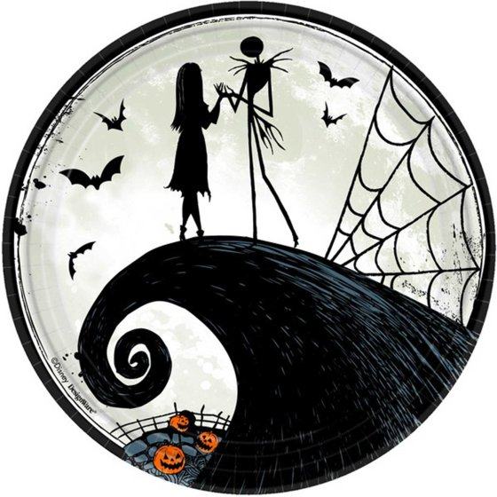"""""""The Nightmare Before Christmas  9"""""""" / 23cm Round Paper Plates"""