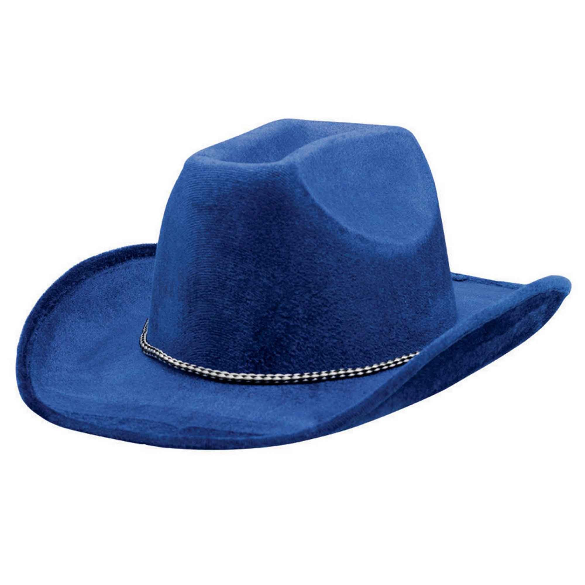 Cowboy Velour Hat - Blue