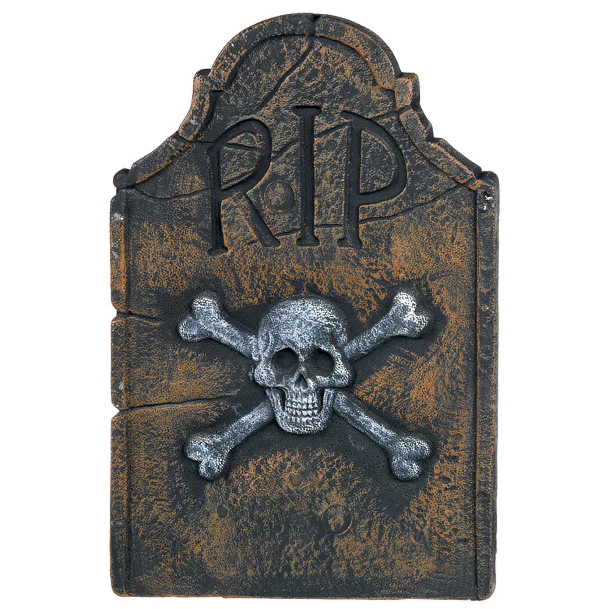 Skull & Crossbones R.I.P Styrofoam Tombstone Decoration