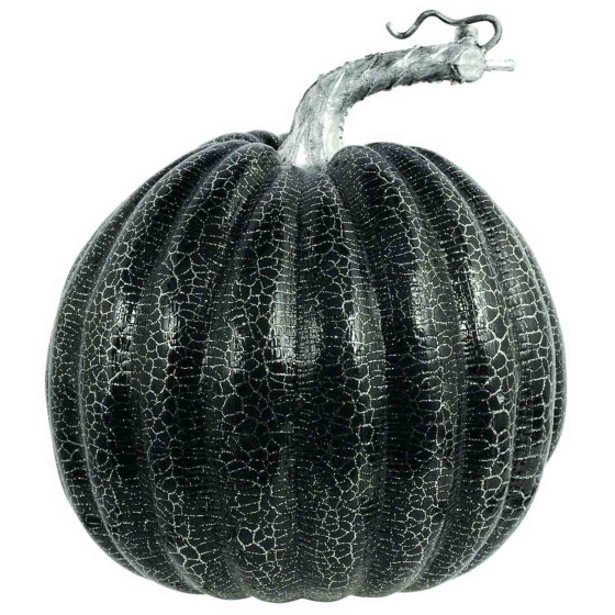 Medium Black Plastic Pumpkin with Silver Crackle Effect