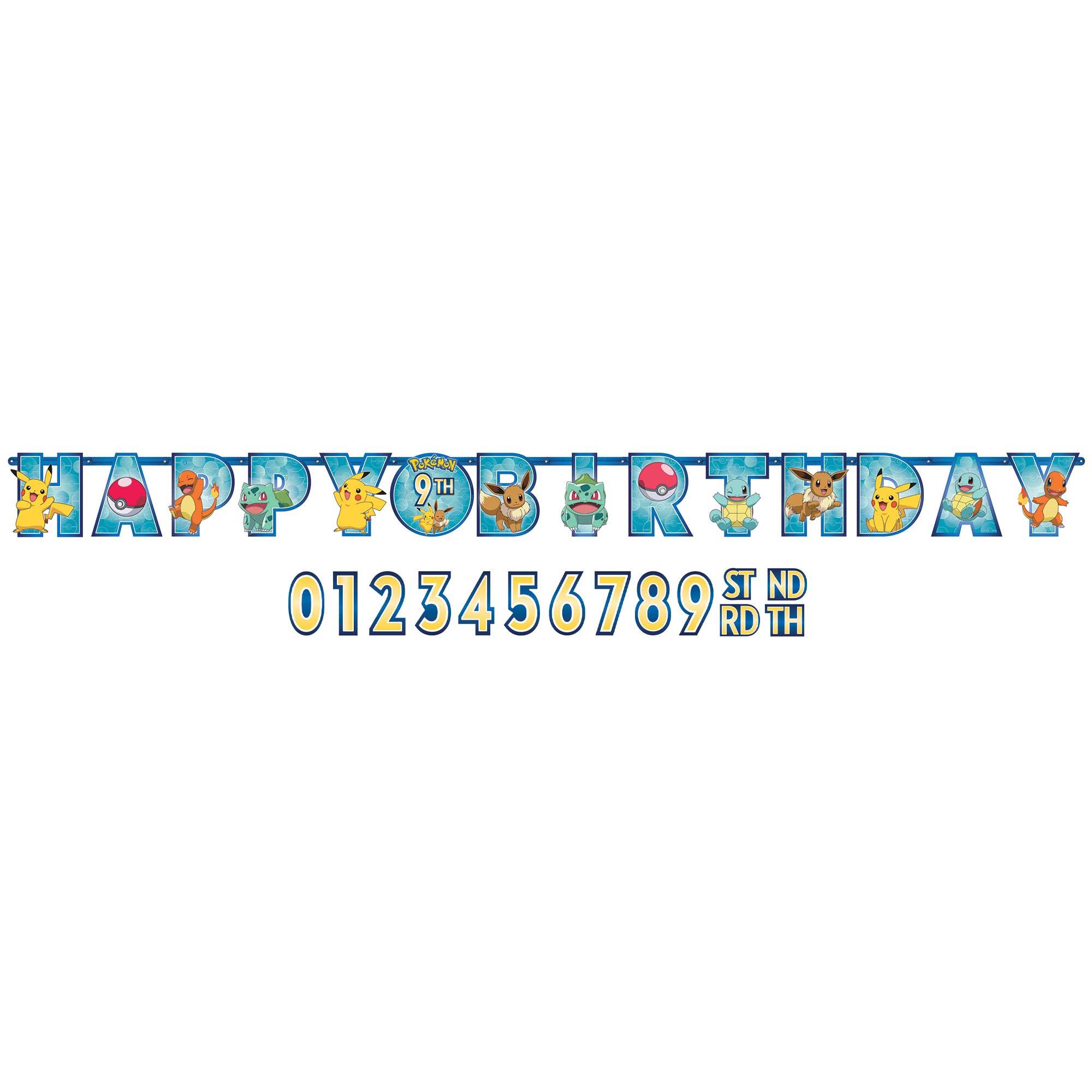 Pokemon Jumbo Happy Birthday Add-An-Age Letter Banner Kit