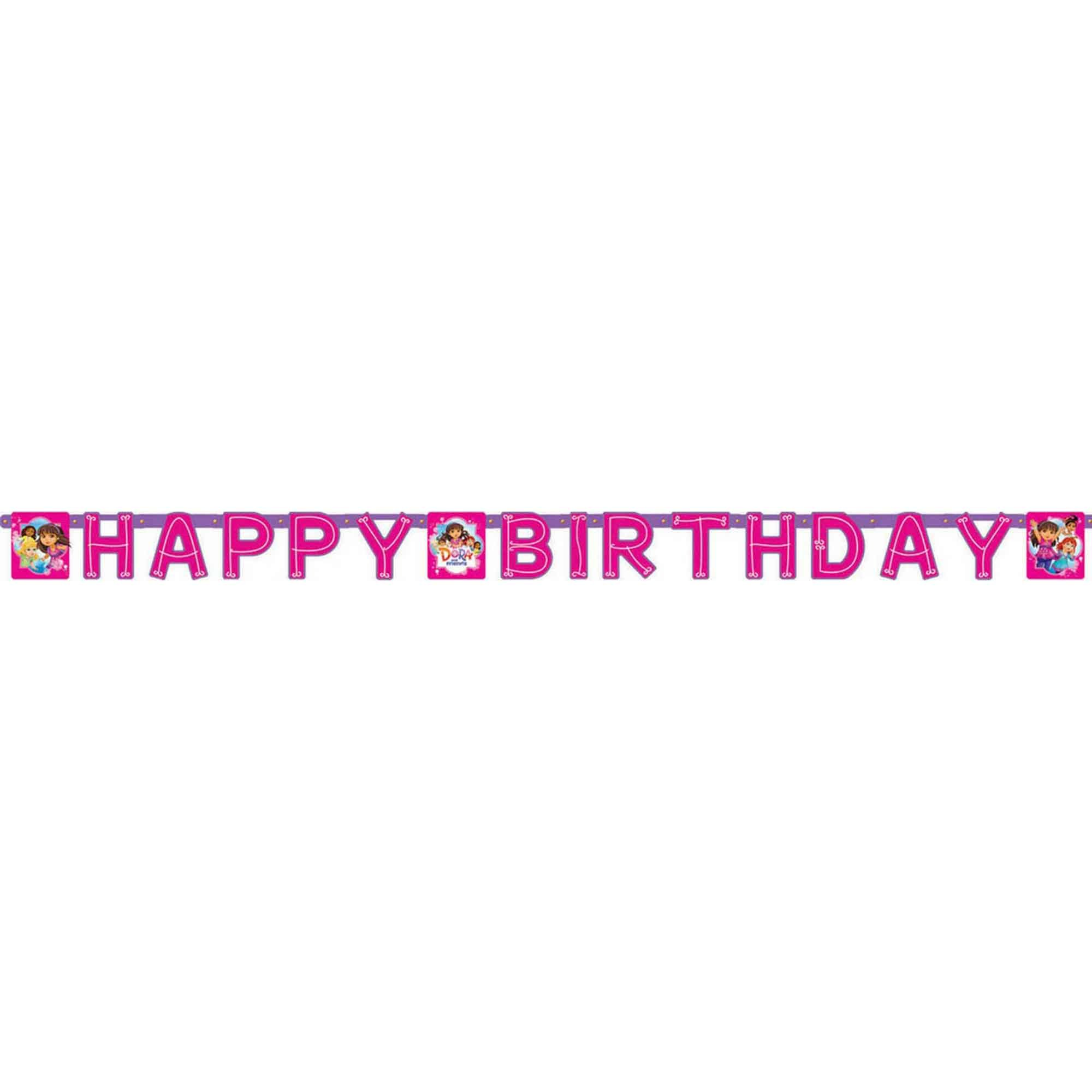 Dora and Friends Happy Birthday Banner - Printed Paper