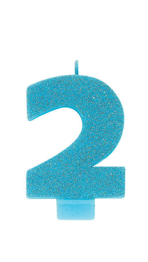 Candle Numeral Glitter #2 Caribbean Blue