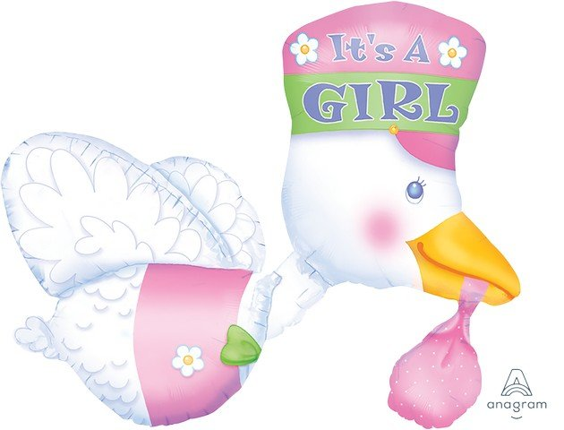 Multi-Balloon Bundle of Joy Stork - It's A Girl P75