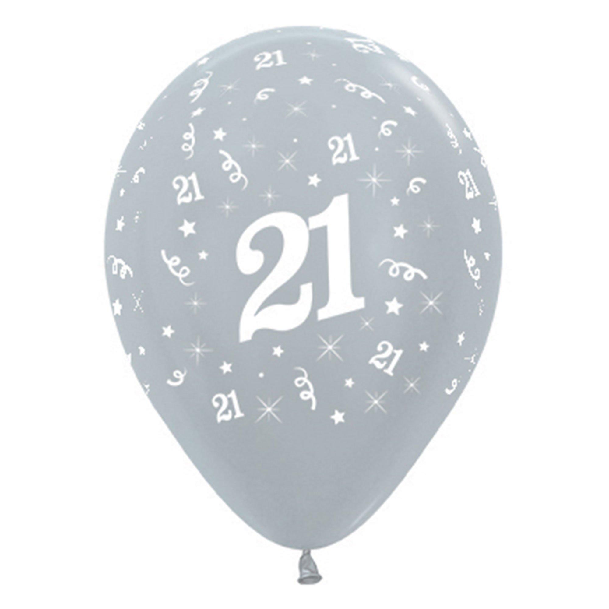 Sempertex 30cm Age 21 Satin Pearl Silver Latex Balloons, 6PK