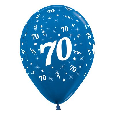 Sempertex 30cm Age 70 Metallic Blue Latex Balloons, 6PK