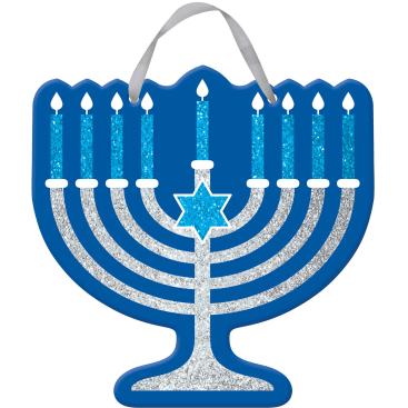 Hanukkah Hanging Sign MDF Glittered & Ribbon Hanger