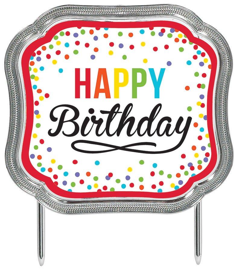 Cake Topper - Happy Birthday Primary Plastic