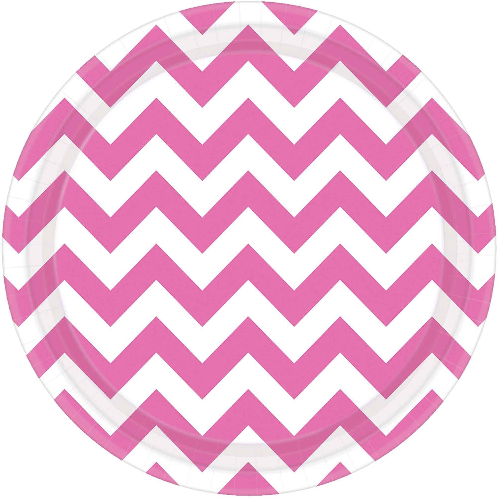 Chevron 23cm Round Plates New Pink