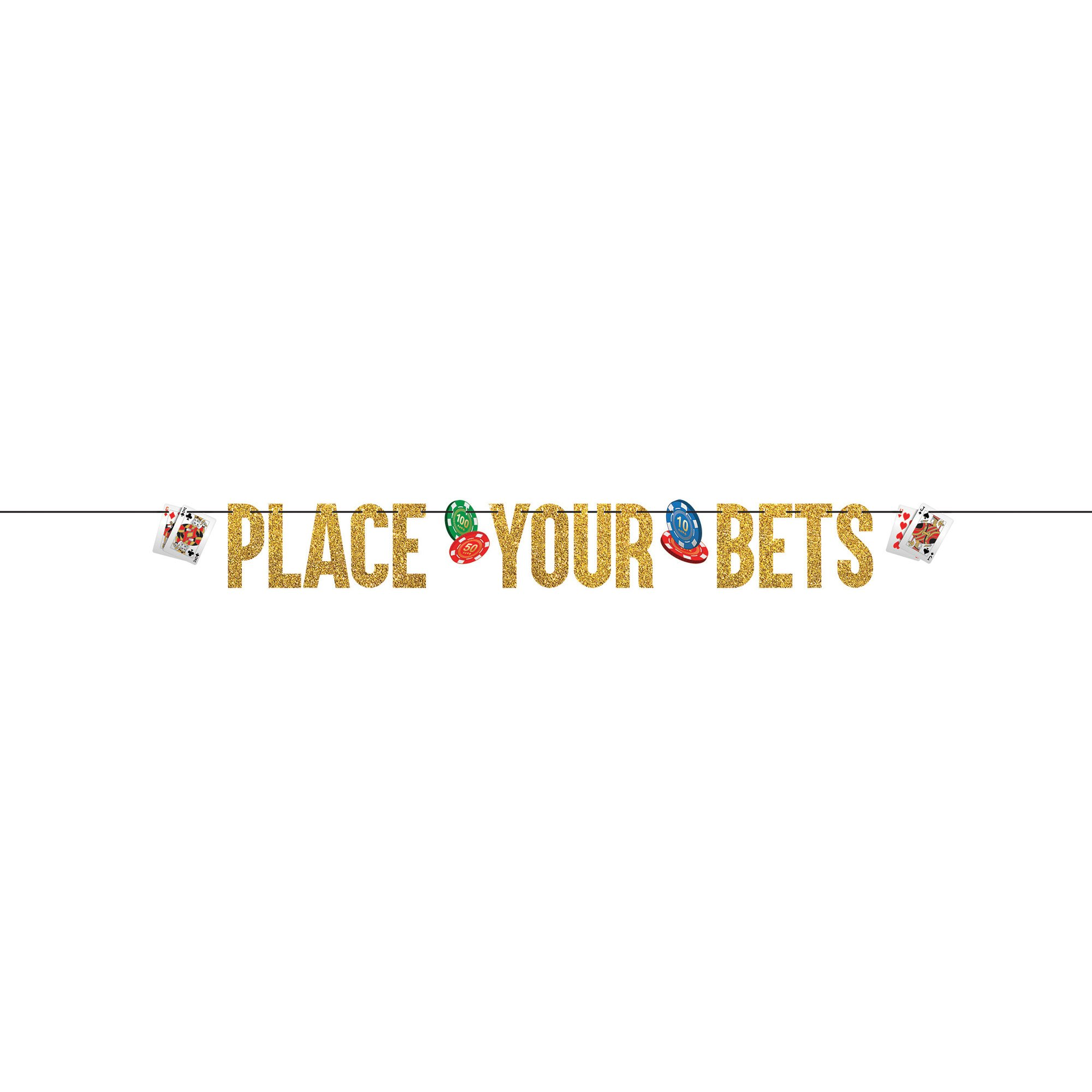 Roll The Dice Casino Ribbon Glittered Letter Banner Place Your Bets
