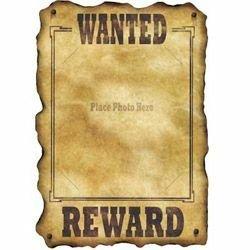 Western Wanted Reward Sign