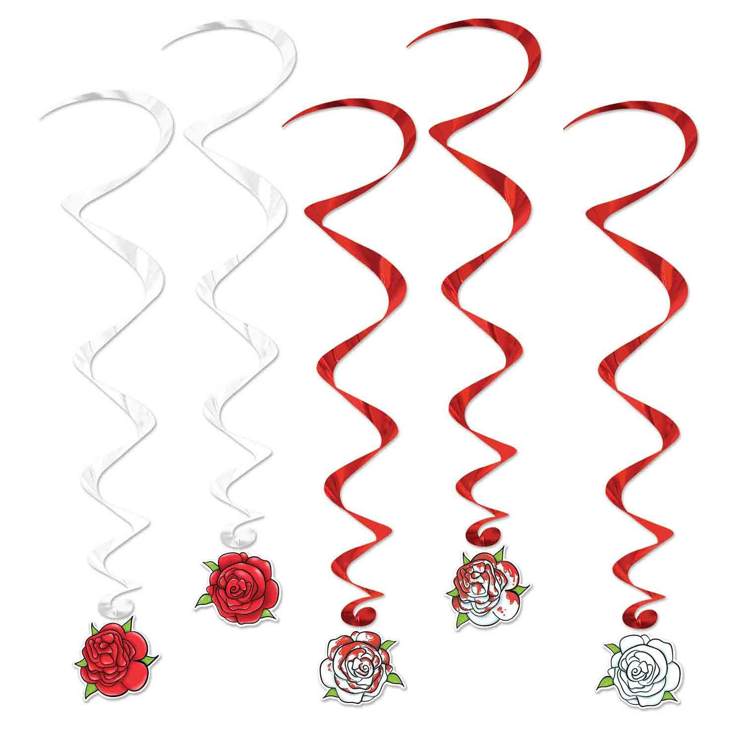 Roses Red & White Hanging Decoration Whirls