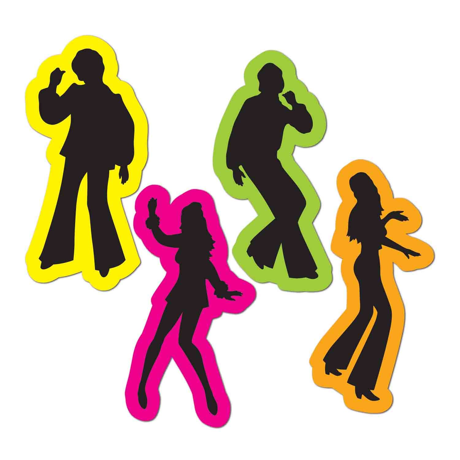 70's Retro Male & Female Black & Neon Silhouettes Cutouts