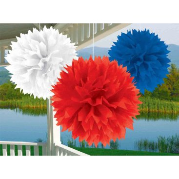 Patriotic Fluffy Tissue Decorations Red, White & Blue