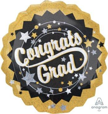 Jumbo Holographic Congrats Grad Black, Gold & Silver P40