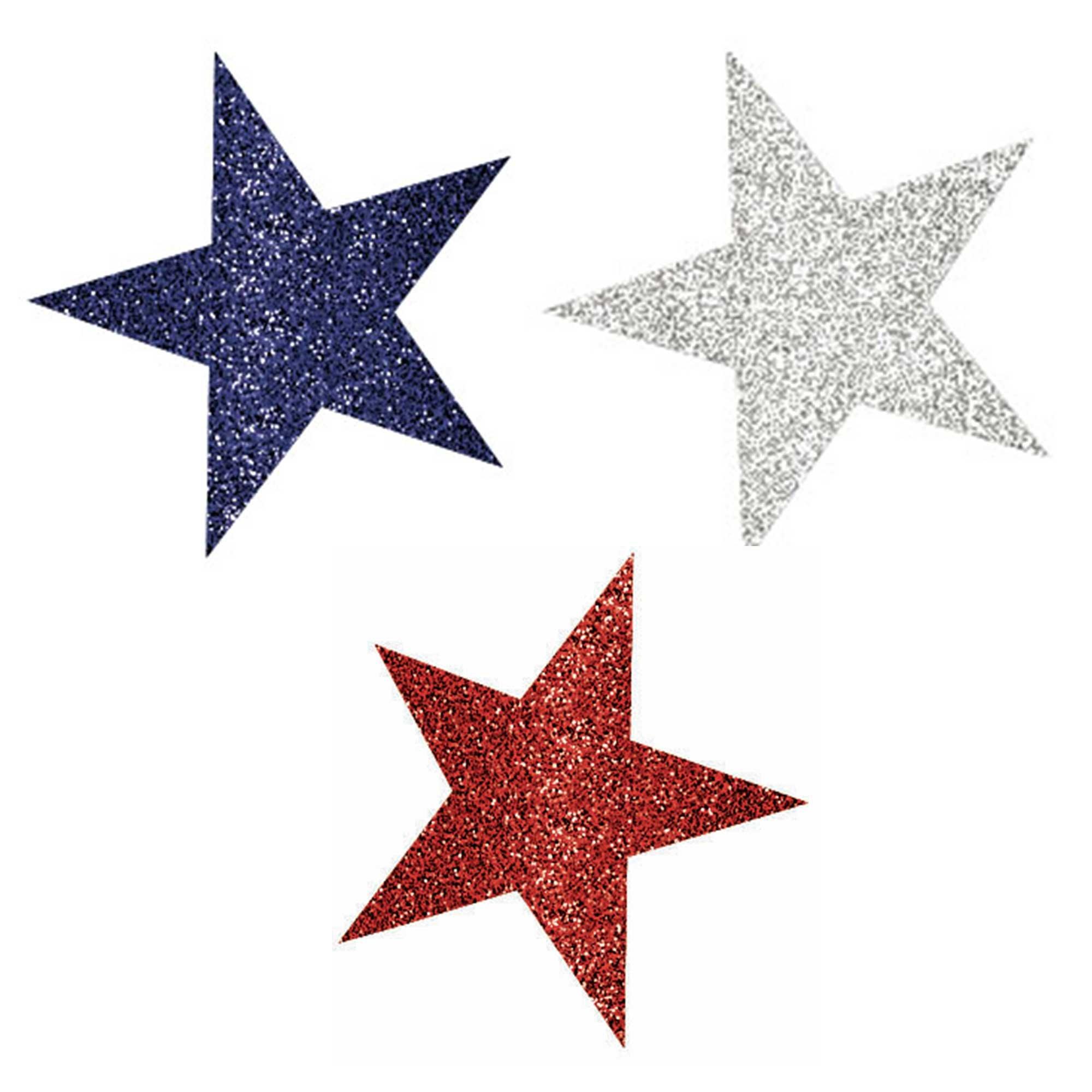 Patriotic Mini Glittered Star Cutouts