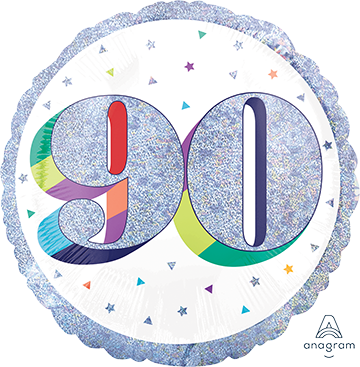 45cm Standard Holographic Here's to Your Birthday 90 S55