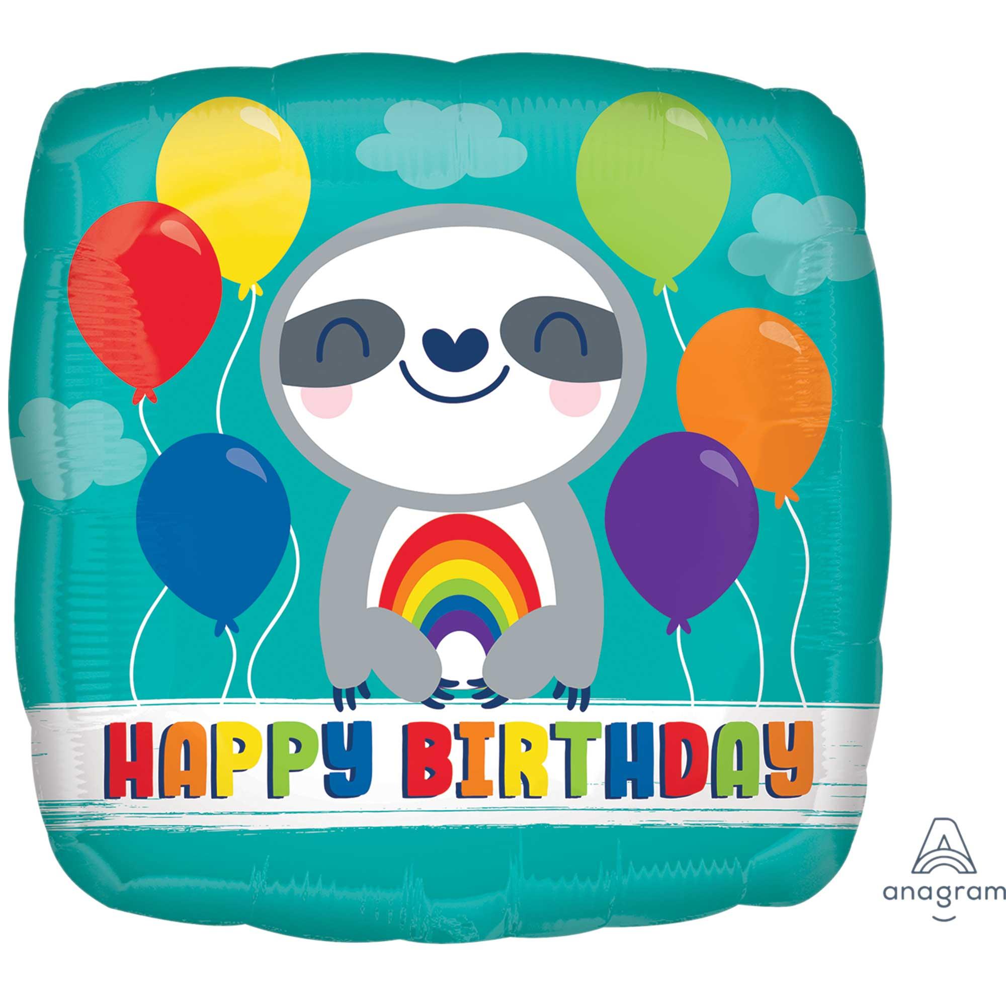 45cm Standard HX Happy Birthday Sloth with Rainbow S40