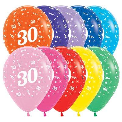 Sempertex 30cm Age 30 Fashion Assorted Latex Balloons, 25PK