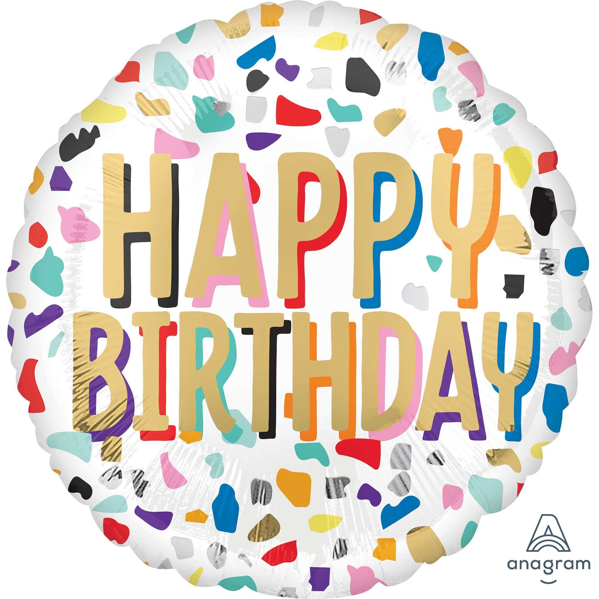 45cm Standard HX Confetti Happy Birthday S40