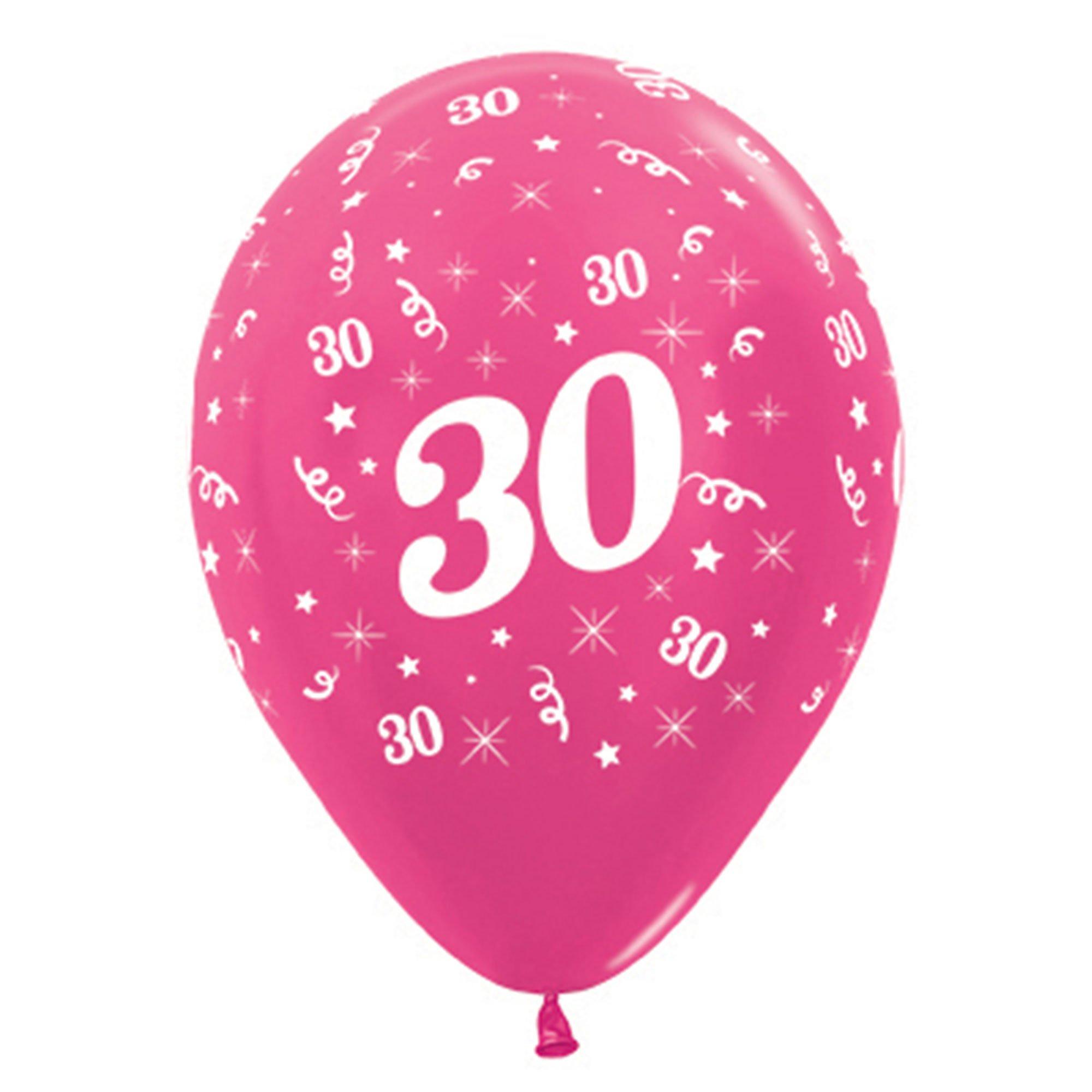 Sempertex 30cm Age 30 Metallic Fuchsia Latex Balloons, 6PK